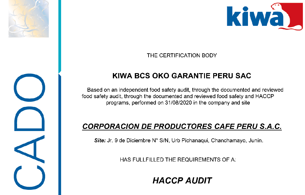OBTUVIMOS CERTIFICACION HACCP